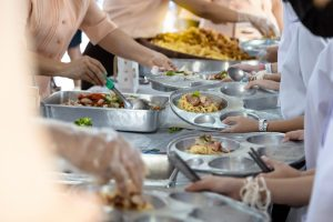 Buffet of food being served at a school