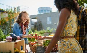 Two women at a farmer's markt